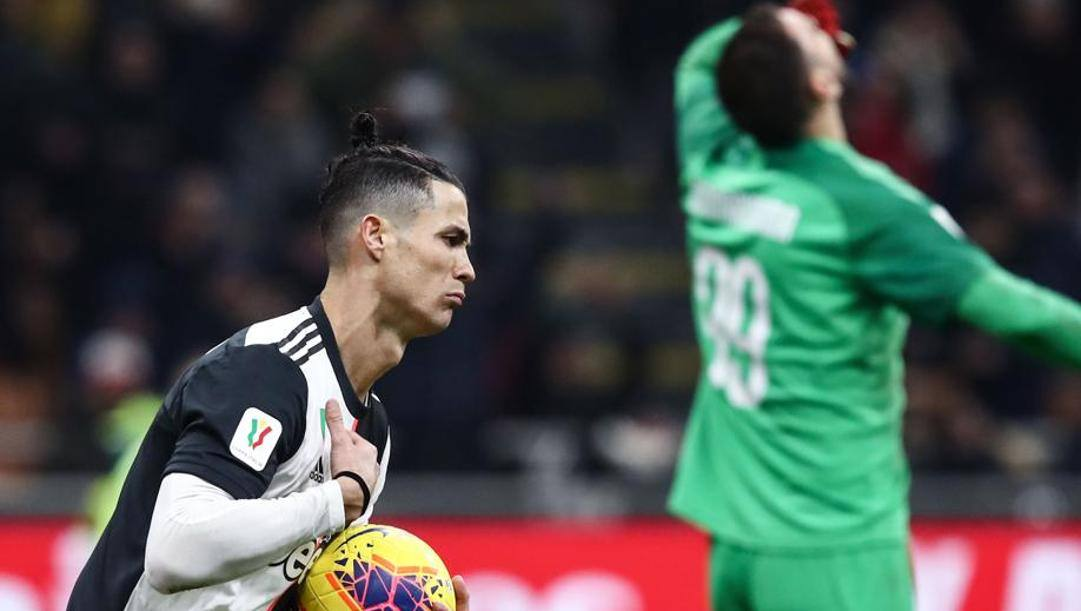 Ronaldo dopo il rigore dell'1-1 segnato a Donnarumma nella semifinale d'andata. Afp